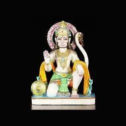 Painted Marble Hanuman Statue
