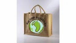 Natural Printed Jute Bag, Capacity: 10kg