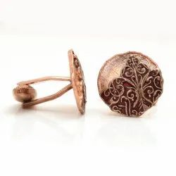 Antique Look Cufflinks In 92.5 Sterling Silver In Rose Gold Plating