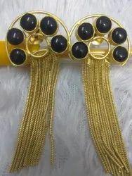 Black Brass Beaded Earrings