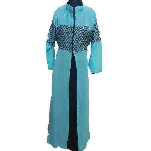 17a44e5a68f28 Ladies Full Sleeves Front Cut Long Kurti