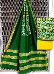 Ikkat Printed Chanderi Suit Material