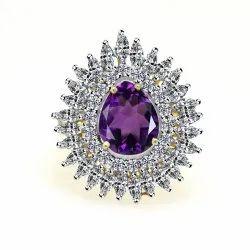 White Cz Ring & Gemstone Ring