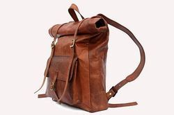 Leather Backpack, Roll Top Backpack, Shoulder Backpack, Trekking Backpack, Pure Leather Backpack