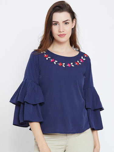 dcd0a40c91868 Women Round Neck Party Wear 100 % Crepe Frill Sleeve Blue Top
