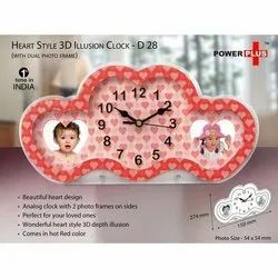 Power Plus Heart Style 3D Illusion Clock With Dual Photo Fr