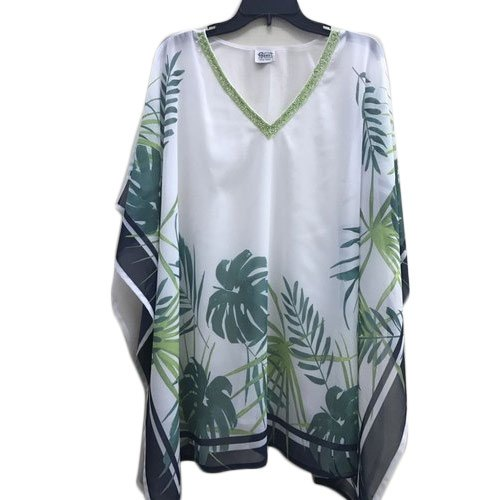 Cotton Casual Tropical Print Kaftan Top With Beaded Neckline