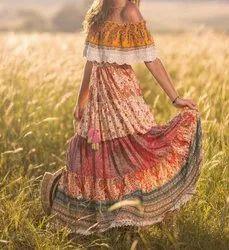 Vintage Floral Print Maxi Dress