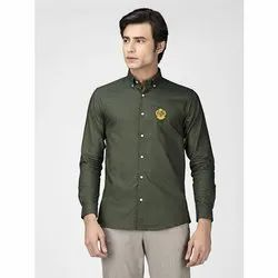 Green Hill Men's Solid Casual Olive Oxford Shirt