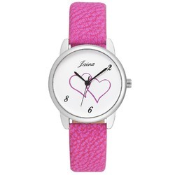 Jainx Pink Strap Analogue Round White Dial Watch For Women & Girls JW576