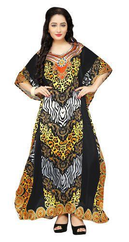 501b1d9cd125 Satin   Silk Multi Color 3D Digital Printed Kaftan