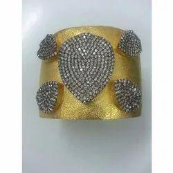 Stone Studded Silver Cuff