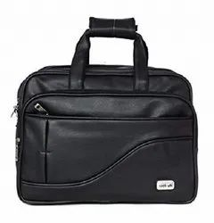 Black Leather Gents Office Bag, Size: 15.6inch
