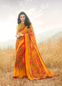 Mustard Shaded Georgette Party Wear Saree