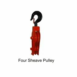 Four Sheave Pulley With Shank Hook
