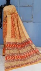 Exclusive Natural Bagru Hand Block Printed Cotton Saree