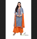 Orange / Gray XXL Orange Designer Embroidery Cotton Salwar Suits