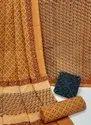 Natural Bagru Hand Block Printed Cotton Dress Material With Cotton Dupatta.