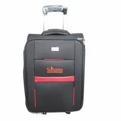 Grey And Red Polyester Luggage Trolley Bag