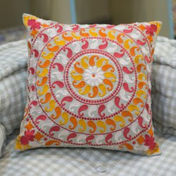 Paisley Design Embroidery Sofa Cushion Cover Orange Cushion Cover