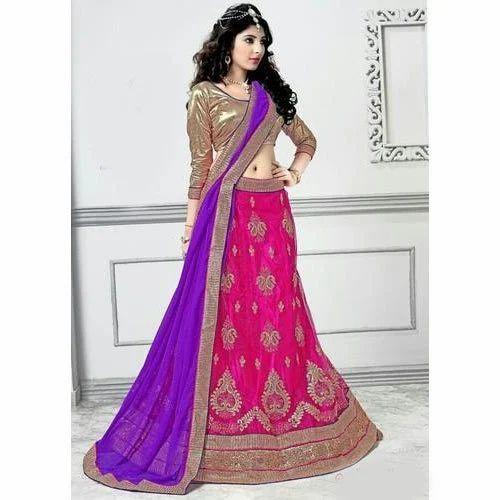 fe28efb8a8 Wedding Wear Pink, Blue Ladies Designer Lehenga, Rs 3000 /piece | ID ...