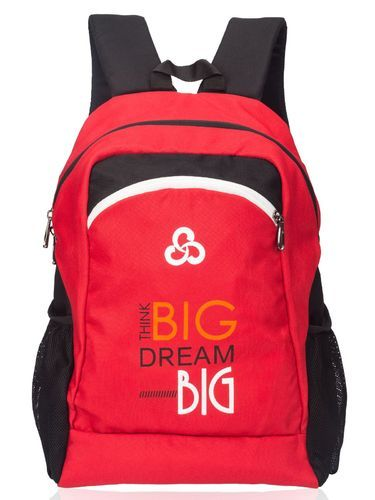 Polyester Red & Black Ladies College Backpack Bag