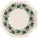 White Marble Octagonal Table Top, Inlay Marble Table Top