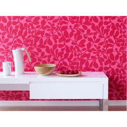 Pink PVC Floral Wall Covering