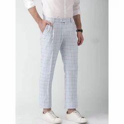Straight Fit Mens Cotton Check Pant, Handwash