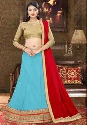 Sky Blue Viscose Georgette Lehenga Choli