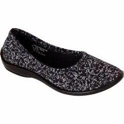Canvas Black Bata Women Leaves Print Soft Slip On Belly Shoes