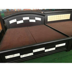 Chocolate Brown Wooden Double Cot Bed