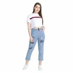 Regular Zipper Sky Blue Ladies Ankle Jeans