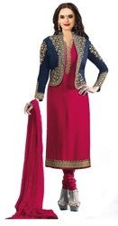 Party Wear Stylish Georgette Embroidered Jacket Salwar Suit (G26-Pink)