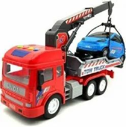 Friction Powered Vehicle with Lights & Sounds for Kids, Heavy Duty Push n Go Vehicles (Tow Truck)