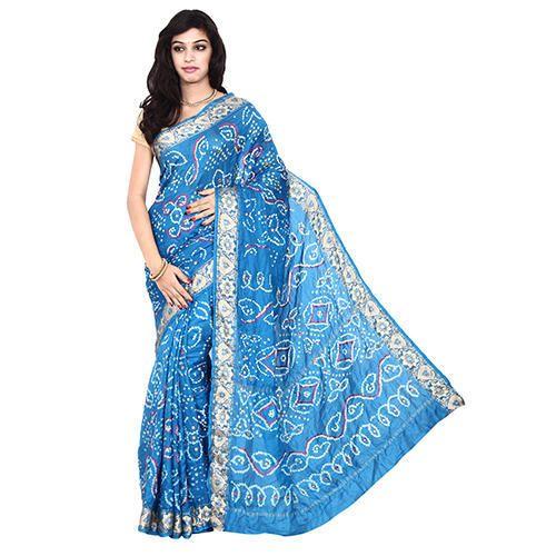 4a8dccd8c1 Bandhani Fancy Sky Blue Saree With Blouse Piece, Saree Length: 5.5 M ...