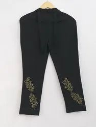 Hand Embroidered Chikan Cotton Ladies Pant