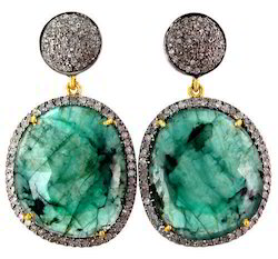 Emerald Diamond Earring