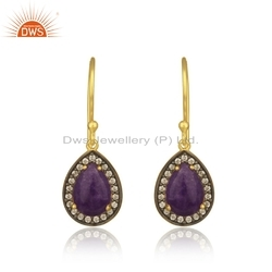 Natural Aventurine CZ Gemstone Silver Gold Plated Earrings Jewelry
