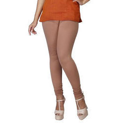 Sassy Curves Plain Biscuit Cotton Lycra V-Cut Churidar Leggings, Size: Free Size