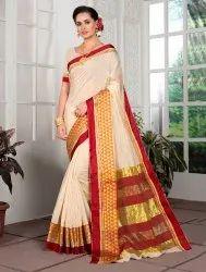 Off-White Border Designed Cotton Silk Saree,6.3 M