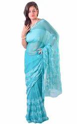 de6c6eebbf665b Firozi Green Georgette Chikankari Designer Saree, Georgette Sarees ...