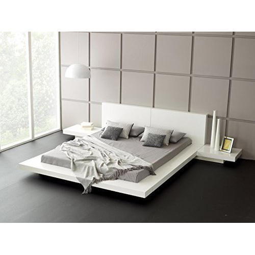 White Low Height Double Bed Warranty 1 Year