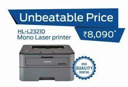Mono Laser Printer, For Printing, Model Name/Number: Brother Hl-2321d