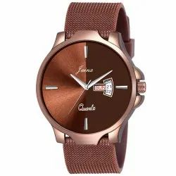 Jainx Brown Mesh Band Day and Date Function Analog Watch for Men's - JM372