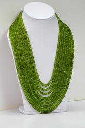 Natural Peridot Faceted Rondelle Beads Necklace
