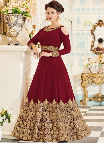 69759b6a48 Chiffon Embroidered Floor Touch Anarkali Suit, Rs 2199 /piece | ID ...