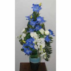 Blue White Plastic Artificial Flower Arrangement Id 20084279291