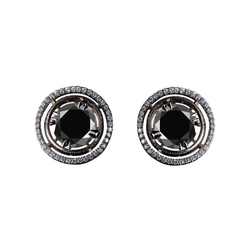 Natural Black Diamond Halo Stud Earring in 14k White Gold