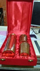 Gold Plated Copper Bottle and Glass Gift Set